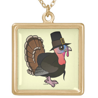 Thanksgiving Pilgrim Turkey Gold Plated Necklace