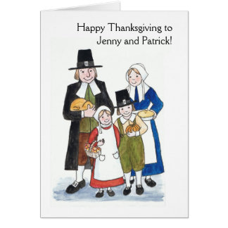 Thanksgiving Pilgrims Greeting Card to Personalize