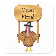 Thanksgiving Pizza (customizable) Square Sticker