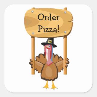 Thanksgiving Pizza customizable Square Sticker