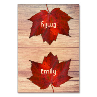 Thanksgiving Place Cards Red Leaf