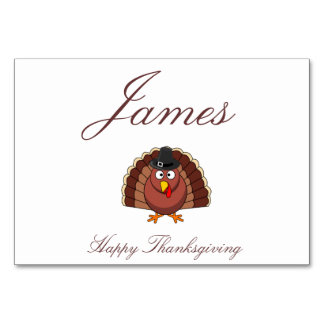 Thanksgiving Place Cards - Turkey With Hat Table Cards