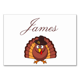 Thanksgiving Place Cards - Turkey With Hat Table Card