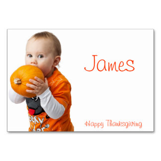 Thanksgiving Place Cards With Baby And Pumpkin Table Card