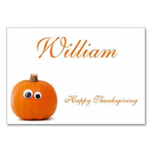 Thanksgiving Place Cards With Funny Pumpkin
