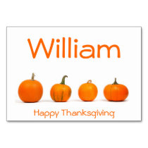 Thanksgiving Place Cards With Pumpkins