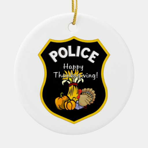 Thanksgiving Police Double-Sided Ceramic Round Christmas Ornament