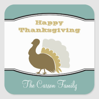 Thanksgiving potluck blue brown turkey day tag stickers