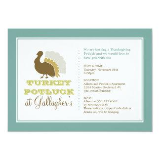 Thanksgiving potluck chic blue green turkey dinner 5x7 paper invitation card