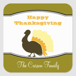 Thanksgiving potluck orange green turkey day tag sticker