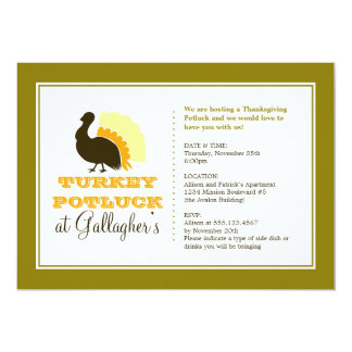 Thanksgiving potluck orange green turkey dinner 5x7 paper invitation card