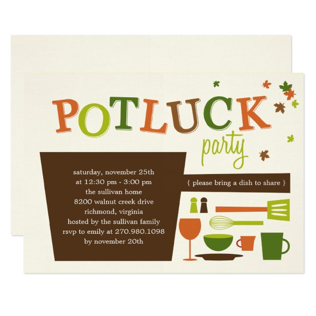 Thanksgiving Potluck Party Invitation | Zazzle.com