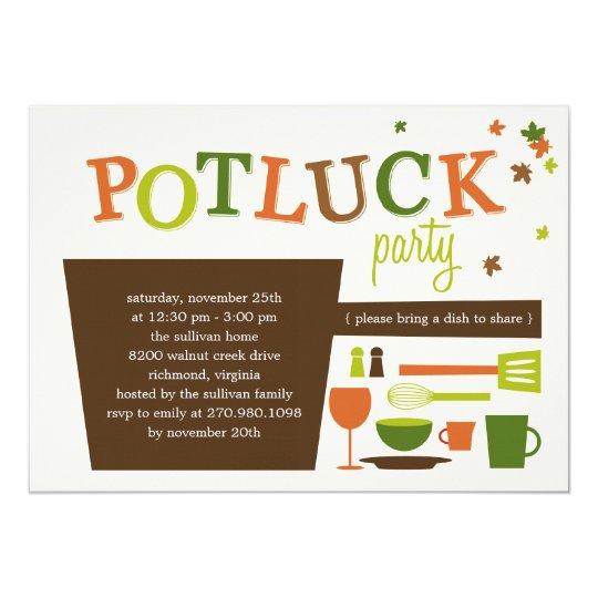 Thanksgiving Potluck Party Invitation   Zazzle.com