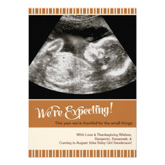 Thanksgiving Pregnancy Announcement Photo Card