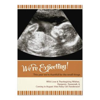 "Thanksgiving Pregnancy Announcement Photo Card 4.5"" X 6.25"" Invitation Card"