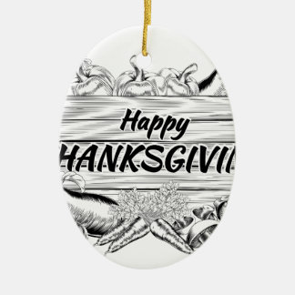 Thanksgiving Produce Vegetable and Fruits Sign Ceramic Ornament