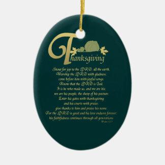 Thanksgiving - Psalm 100 Ceramic Ornament