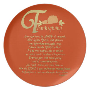 Thanksgiving   Psalm 100 Melamine Plate