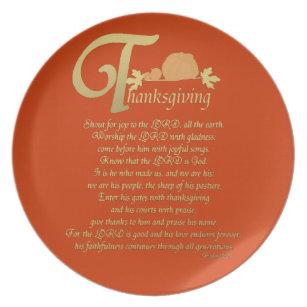 Thanksgiving - Psalm 100 Melamine Plate  sc 1 st  Zazzle & Thanksgiving Plates | Thanksgiving Plates Designs