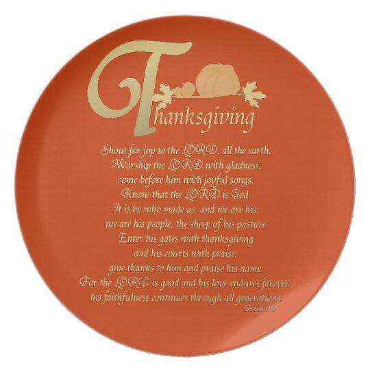 Thanksgiving - Psalm 100 Melamine Plate