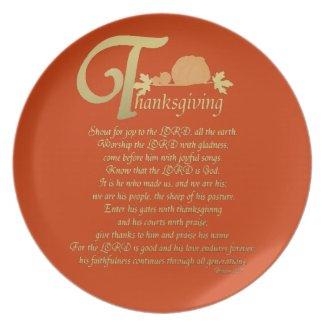 Psalm 100 Thanksgiving Plate