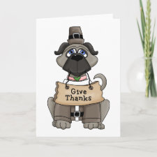 Thanksgiving Pug Dog Cards