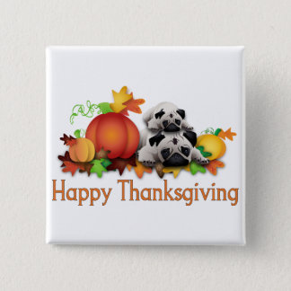 Thanksgiving Pugs and Pumpkins Gifts, Tees Button
