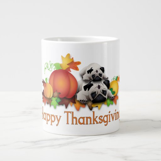 Thanksgiving Pugs and Pumpkins Gifts, Tees Extra Large Mugs