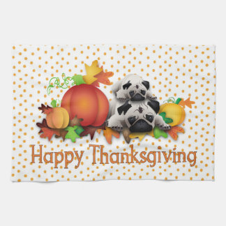 Thanksgiving Pugs and Pumpkins Gifts, Tees Towel