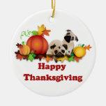 Thanksgiving Pugs and Pumpkins Christmas Tree Ornament