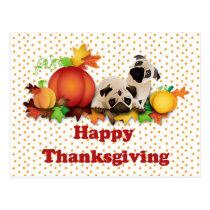 Thanksgiving Pugs and Pumpkins Postcard