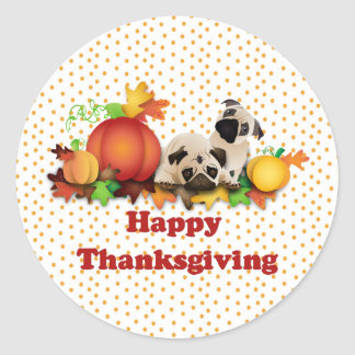Thanksgiving Pugs and Pumpkins Round Stickers