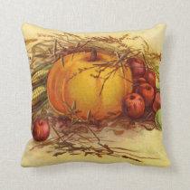 Thanksgiving Pumpkin and Apples Accent Pillow