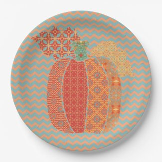 Thanksgiving Pumpkin and Chevrons, Paper Plates 9