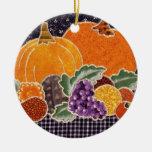 Thanksgiving Pumpkin and Friends Patchwork Ceramic Ornament