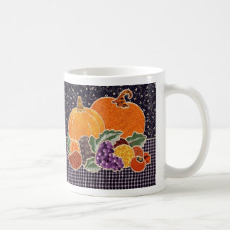 Thanksgiving Pumpkin and Friends Patchwork Coffee Mug