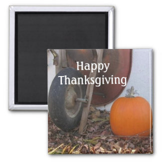 Thanksgiving Pumpkin and Wheelbarrow Magnet