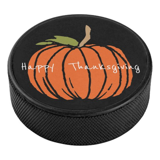Thanksgiving Pumpkin Art, Ice Hockey Puck