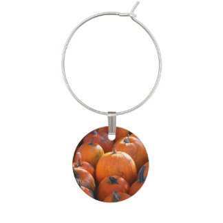 Thanksgiving Pumpkin Patch Wine Glass Charm