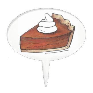 Thanksgiving Pumpkin Pie Piece Slice Dessert Food Cake Topper