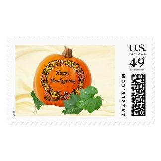 Thanksgiving Pumpkin Vintage Autumn Acorn Wreath Stamp