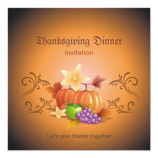 Thanksgiving Pumpkins Fruits Leaves Classic Card