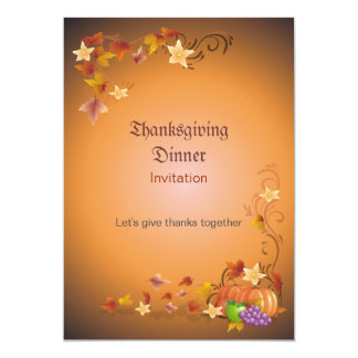 Thanksgiving Pumpkins Fruits Leaves Classic Invite