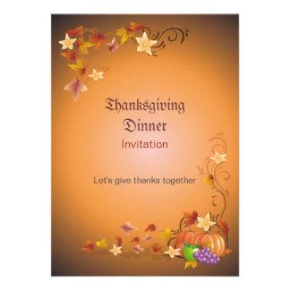 Thanksgiving Pumpkins Fruits Leaves Classic Invite