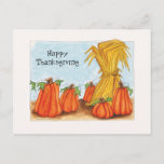 Thanksgiving pumpkins holiday postcard