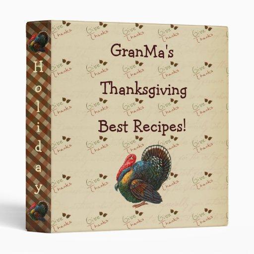 Thanksgiving Recipe Cookbook Binder