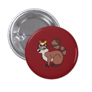 Thanksgiving Red Raccoon with Indian Headdress Button