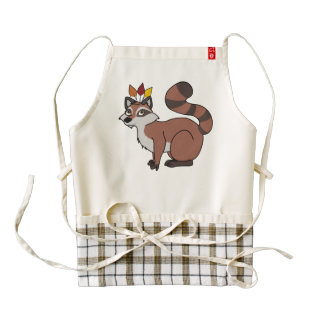 Thanksgiving Red Raccoon with Indian Headdress Zazzle HEART Apron