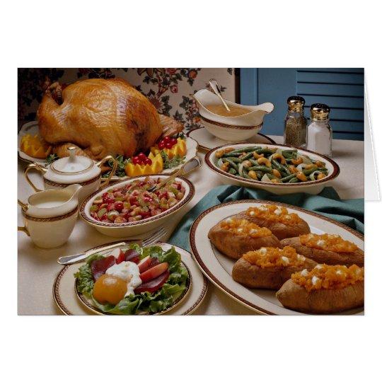 Thanksgiving roast turkey dinner card