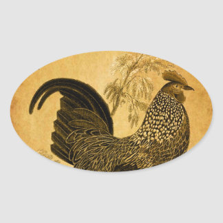 Thanksgiving Rooster Oval Stickers